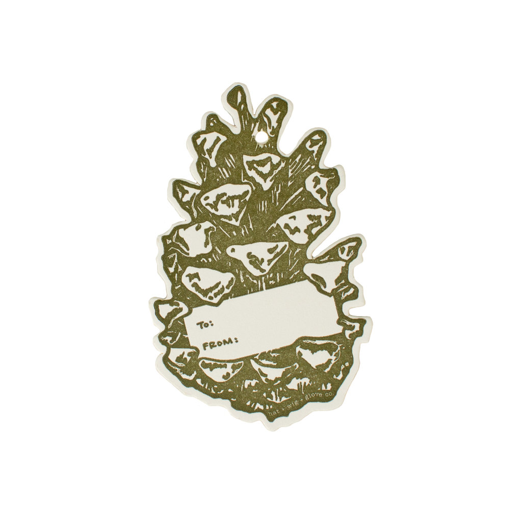Hat + Wig + Glove Pinecone gift tag