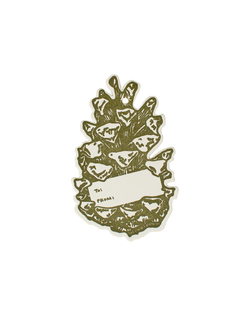HWG Pinecone gift tag