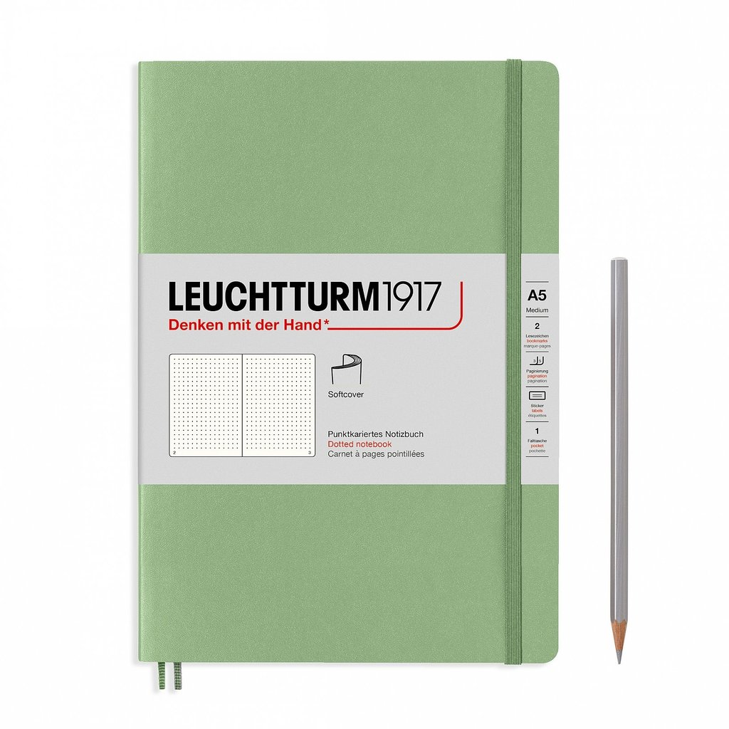 Leuchtturm A5 Sage Softcover Notebook Dotted