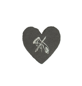 Oblation Papers & Press Knife in Hand foiled handmade petite heart in charcoal