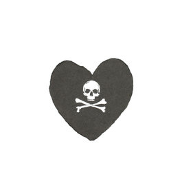 Oblation Papers & Press Skull and Crossbones foiled handmade petite heart in charcoal