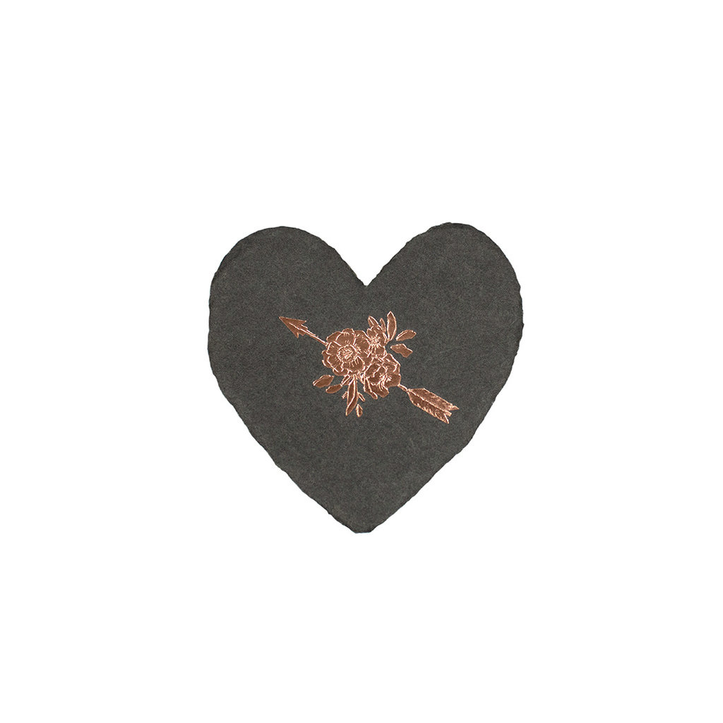 Oblation Papers & Press Arrow and Rose foiled handmade petite heart in charcoal