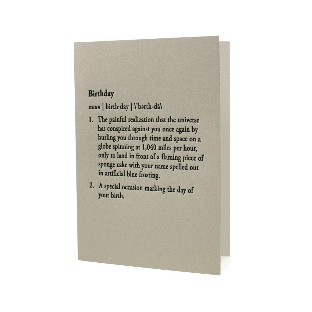 Hat + Wig + Glove Birthday Definition letterpress Card