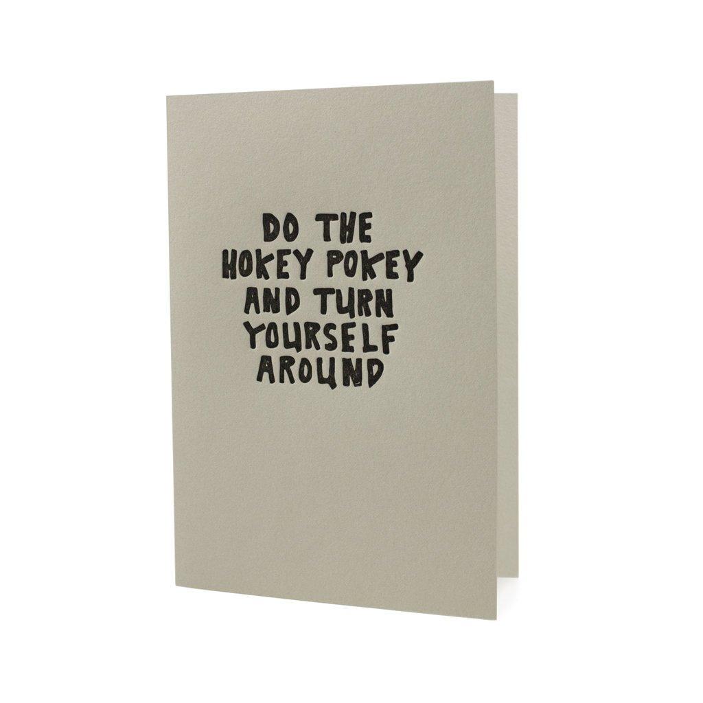 Hat + Wig + Glove Do the Hokey Pokey and Turn Yourself Around letterpress card