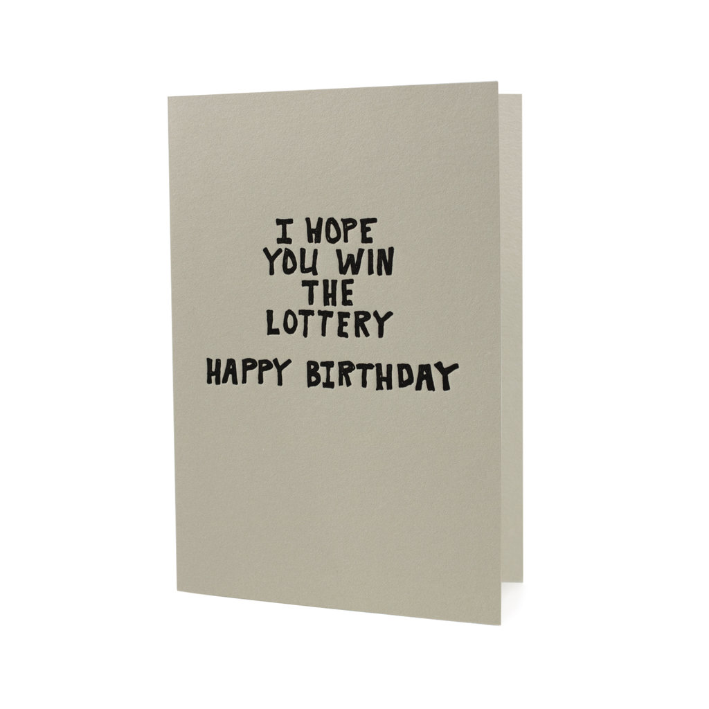 Hat + Wig + Glove I Hope You Win the Lottery Happy Birthday letterpress card