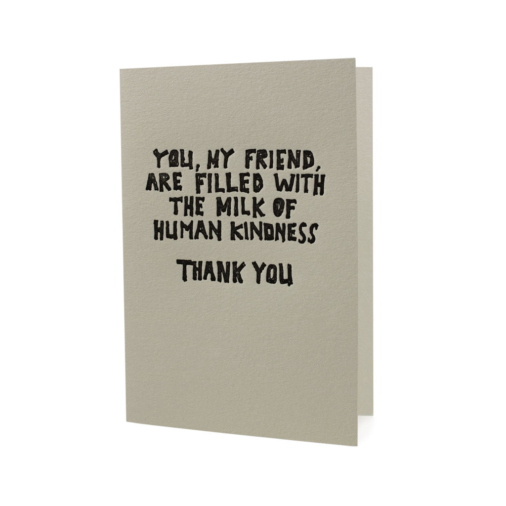 Hat + Wig + Glove You, My Friend, are Filled with the Milk of Human Kindness Thank You letterpress card