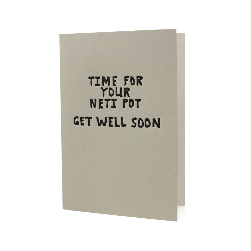 Hat + Wig + Glove Time for your Neti Pot Get Well Soon letterpress card