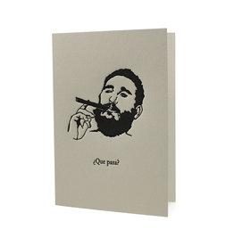 Hat + Wig + Glove Fidel Castro ¿Que Pasa? letterpress Card