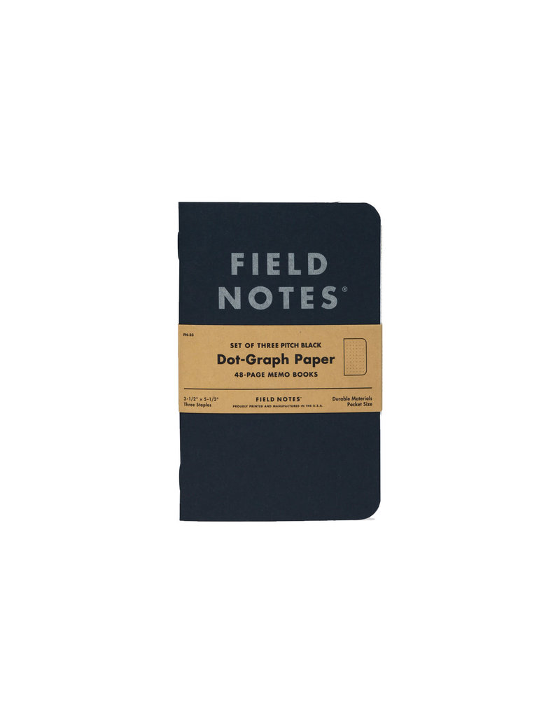 Field Notes Pitch Black 3-pk Dot Graph