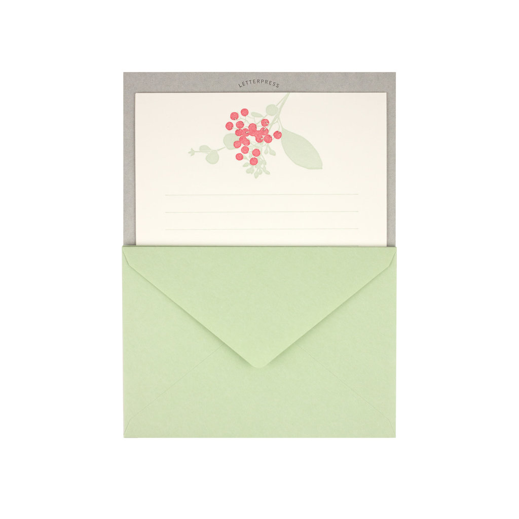 Midori Letter Set 460 Letterpressed Bouquet Red