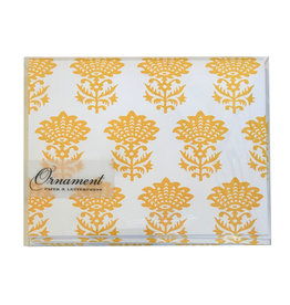 Yellow Handblock Patterned Notecards