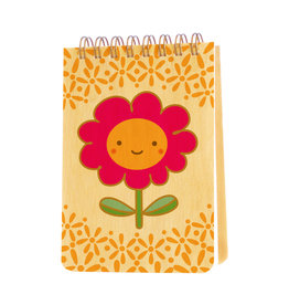 Night Owl Paper Goods Happy Flower Wooden Mini Notebook