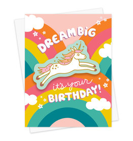 Night Owl Paper Goods Dream Big Birthday Sticker Card