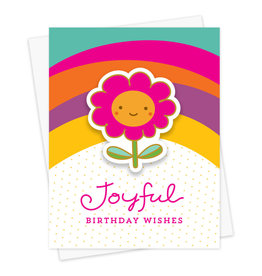Night Owl Paper Goods Joyful Flower Birthday Sticker Card