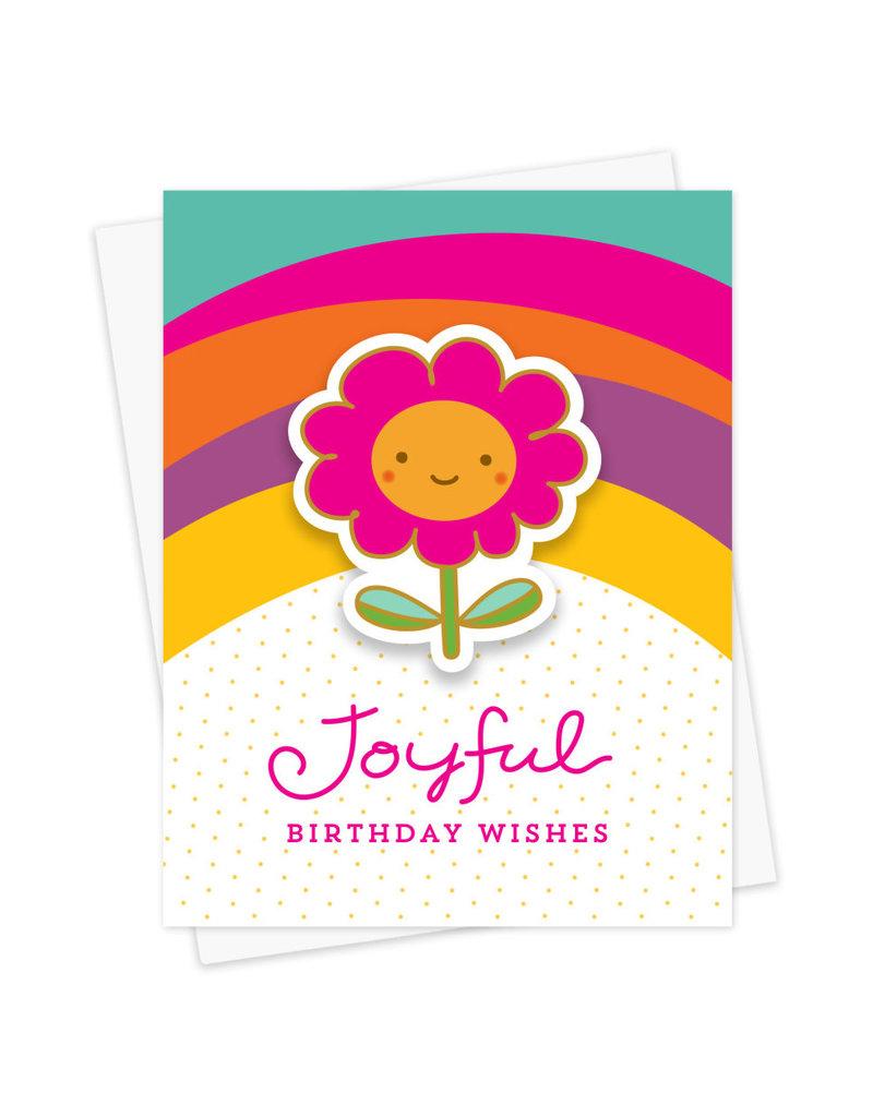 Night Owl Paper Goods Joyful Flower Birthday Sticker Card