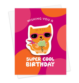 Night Owl Paper Goods Cool Cat Birthday Sticker Card