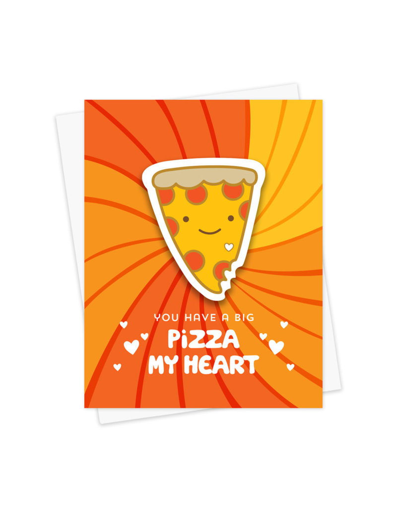 Night Owl Paper Goods Pizza My Heart Sticker Card