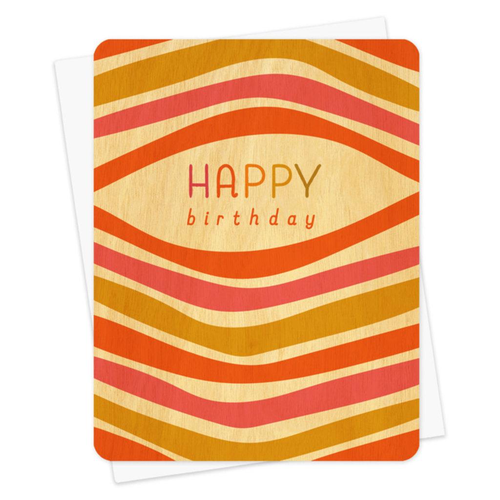 Night Owl Paper Goods Happy Birthday Wooden Card