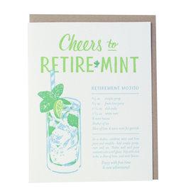 Smudge Ink Mojito Recipe Retirement Letterpress Card