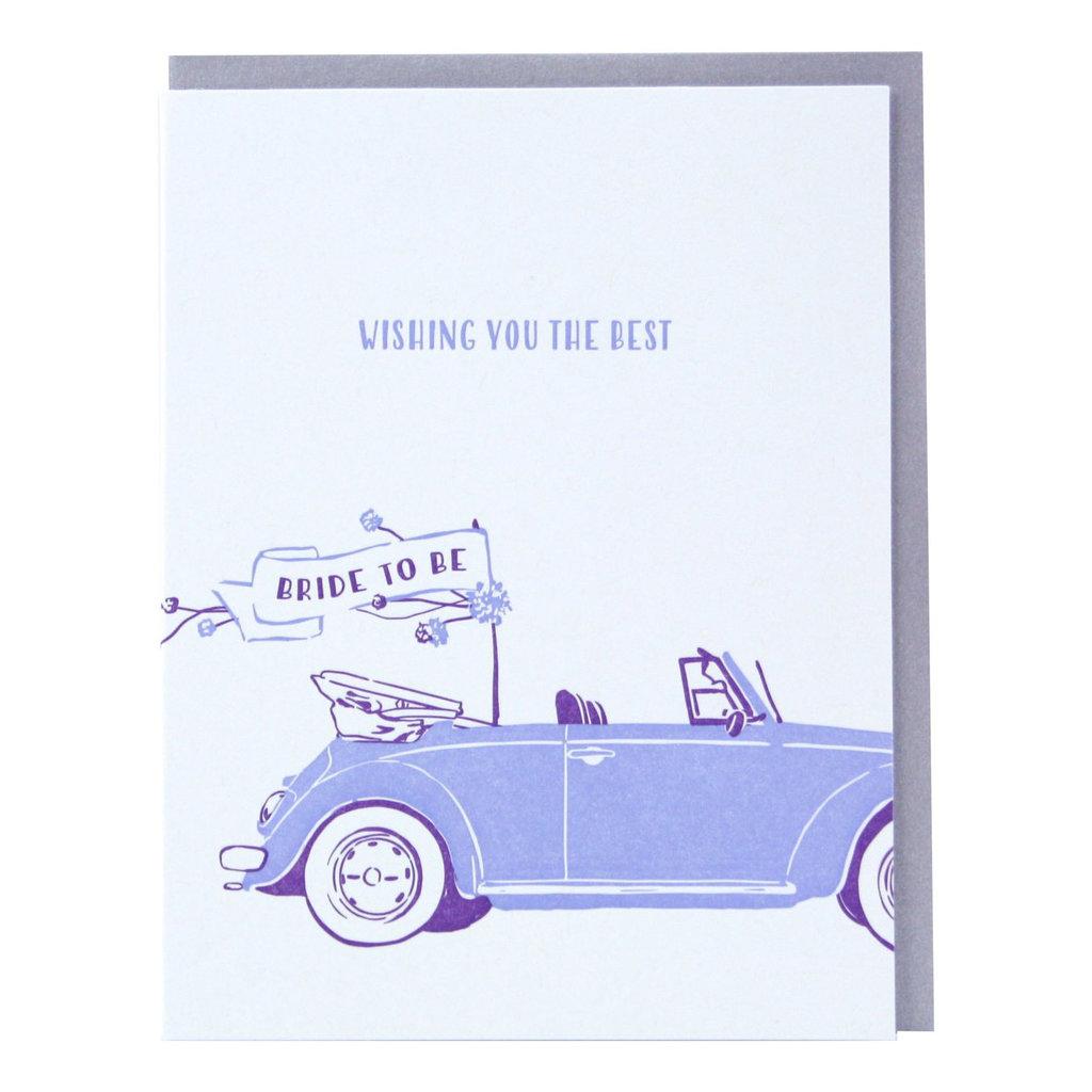 Smudge Ink Bridal Buggy Engagement Letterpress Card