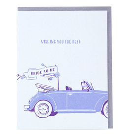 Smudge Ink Bridal Buggy Engagement Letterpress Card