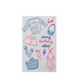 Anemone Letterpress Sunny Vibes Birthday Letterpress Card