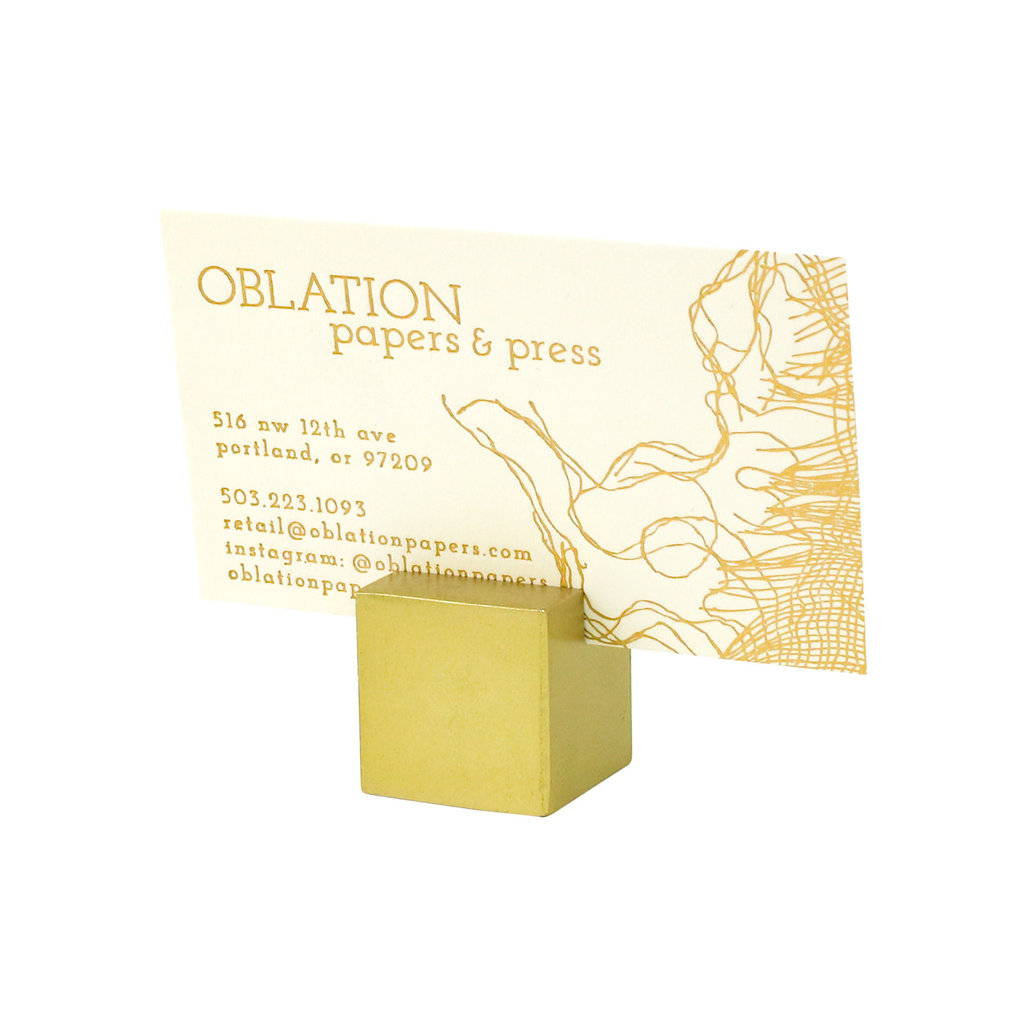 Cast Iron Cube Place Card Holder Brass