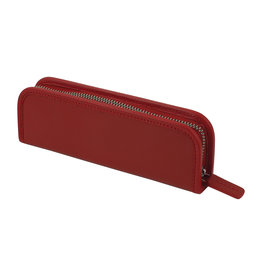 Leather Zip Pen Case Red