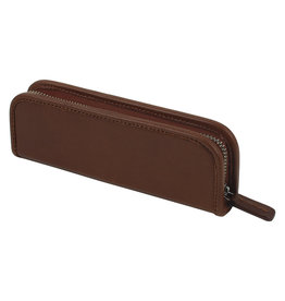 Leather Zip Pen Case Cognac
