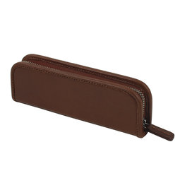 Leather Zip Pen Case Cognac