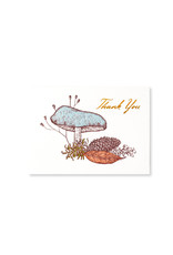 """Mushroom Thank YouThank you  thank you card with two people hugging folded 100# natural white card with recycled kraft envelope blank inside artist Phoebe Wahl, handmade in Washington state by Big Wheel Press A2, 4.25"""" x 5.5"""""""