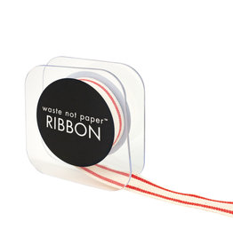 Waste Not Paper Ivory and Red Stripe Ribbon 5/8""