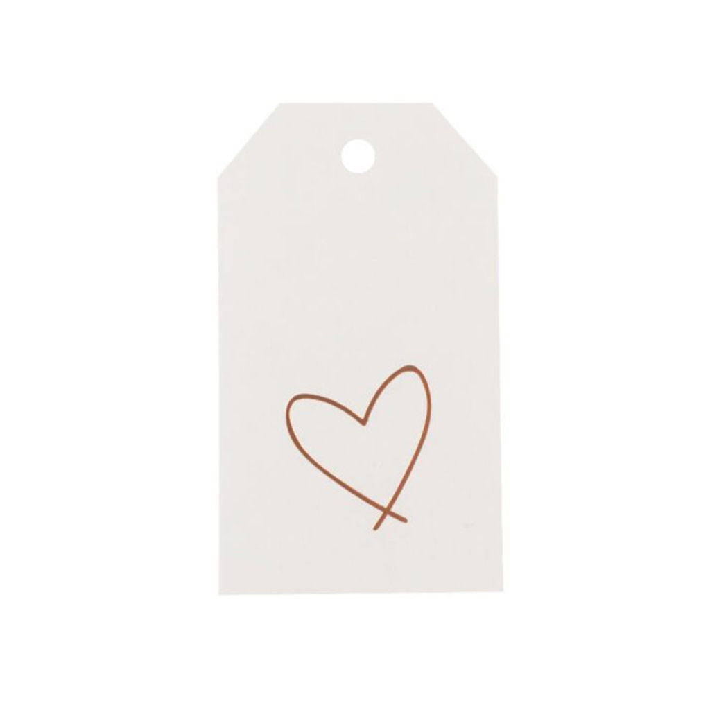 Wrinkle & Crease Heart Gift Tag Rose & Gray