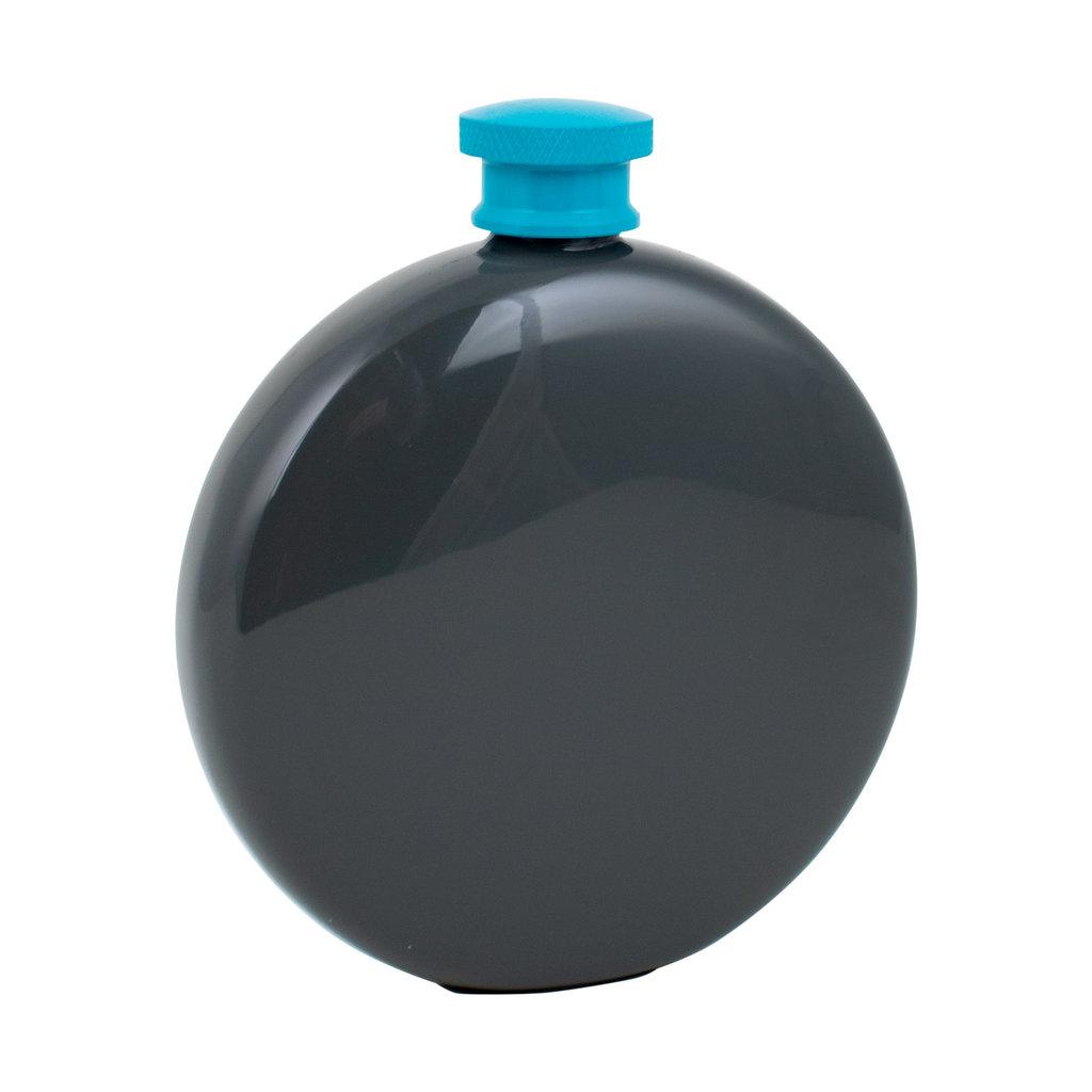 Lund London Round Hip Flask Dark Grey & blue