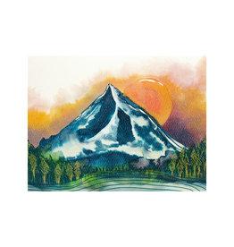 Maija Rebecca Hand Drawn Mt. Hood at Dusk Greeting Card