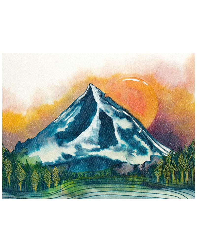Maija Rebecca Hand Drawn Mt. Hood at Dusk