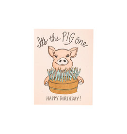 Pig One Birthday Card