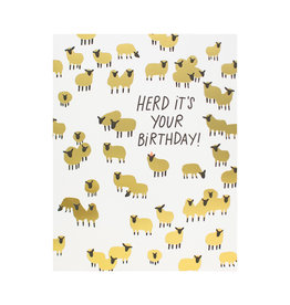 Hello! Lucky Herd Its Your Birthday Letterpress Card