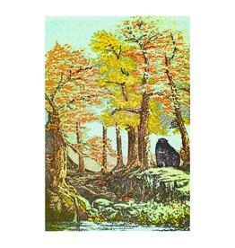 Old School Stationers Bear By Lake & Trees letterpress card