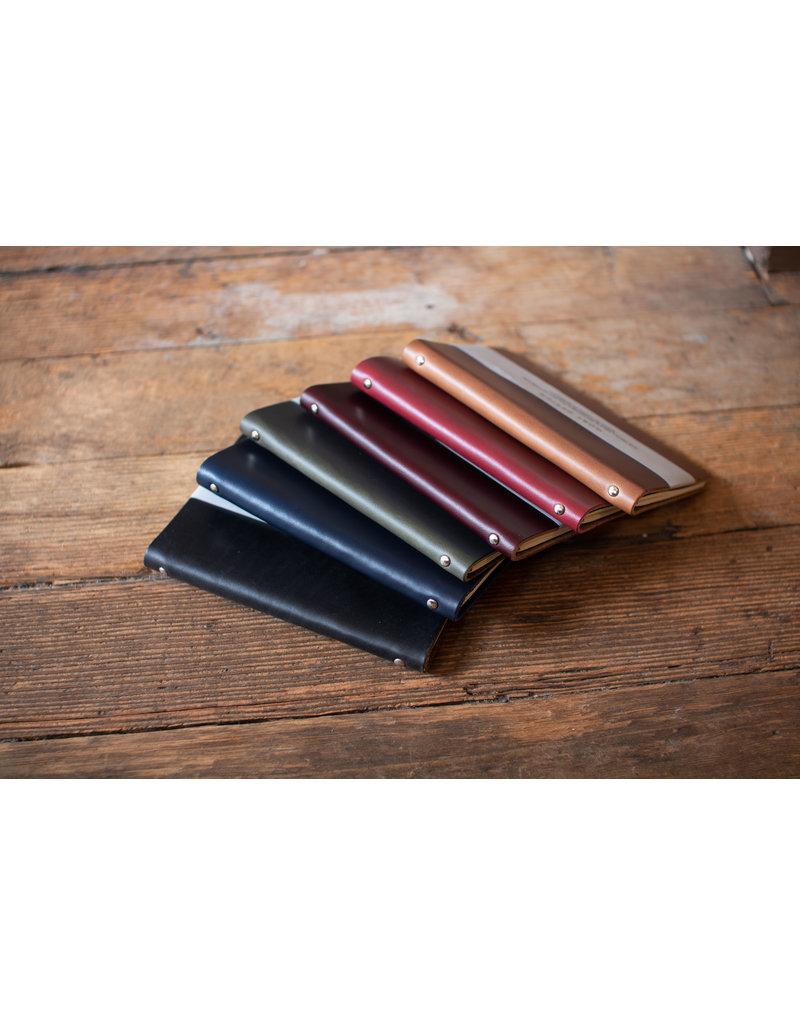 Goby Design Leather Pocket Notebook - Midnight Black