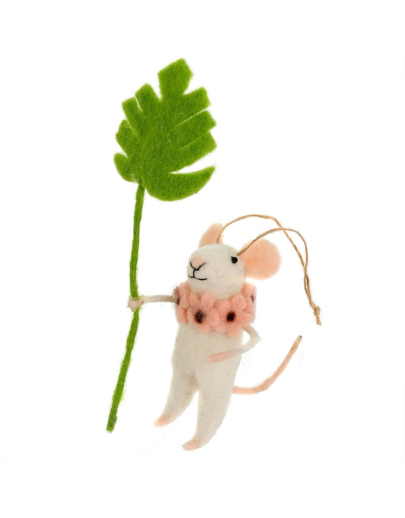 Indaba Monstera Maya Mouse Ornament