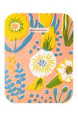 Egg Press Saturated Flower Birthday Letterpress Card