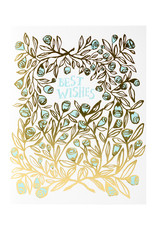 Egg Press Rose Bush Best Wishes Letterpress Card