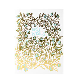 Egg Press Rose Bush Best Wishes Letterpress Card