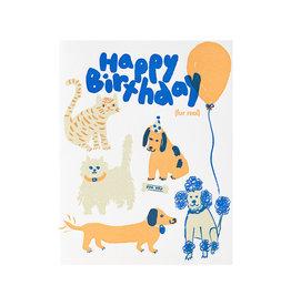 Egg Press Happy Birthday Fur Real Letterpress Card