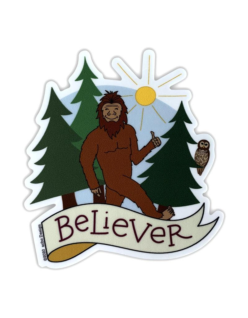 AC BC Design Bigfoot Believer Sticker