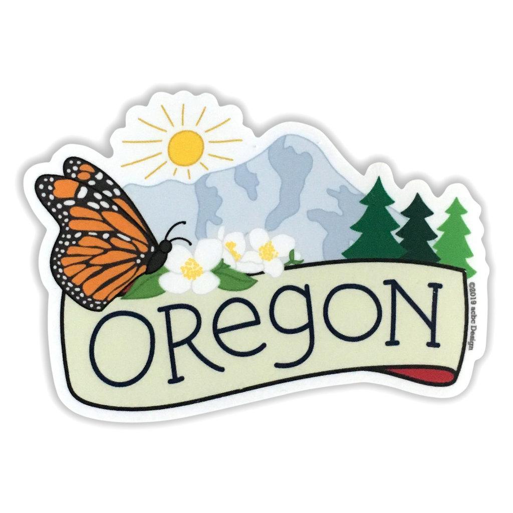 AC BC Design Oregon Butterfly Vinyl Sticker
