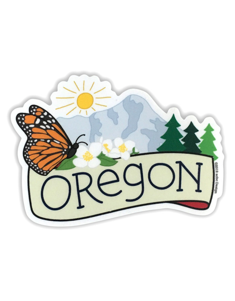 AC BC Design Oregon Butterfly Vinyl Sticker