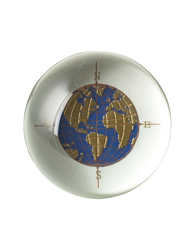 Crane Engraved Globe Paperweight