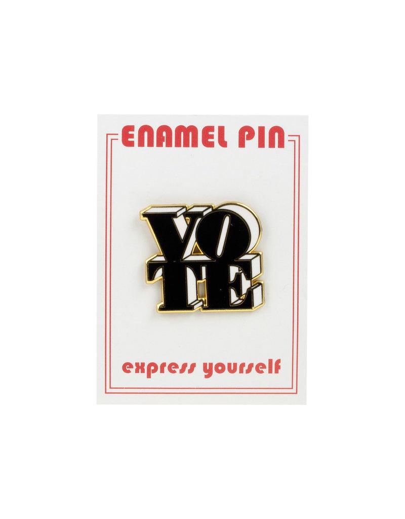 the found Vote Black & White Pin